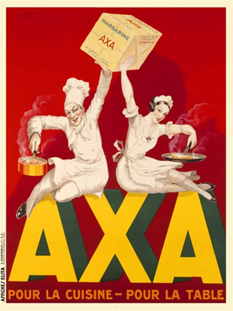 AXA by H. Le Monnier 1933 France - Beautiful Vintage Poster Reproductions. This vertical French culinary / food poster features a man and woman chefs sitting holding pots/pans and a package above their head. Giclee Advertising Print. Classic Posters