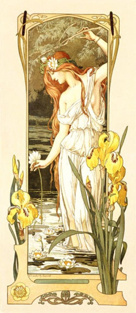 Fleurs des Eau by Sonrel - Beautiful Vintage Poster Reproductions. This vertical French theater exhibition poster features a red headed woman standing in a pond with water lilies holding a flower. Giclee Advertising Print. Classic Posters