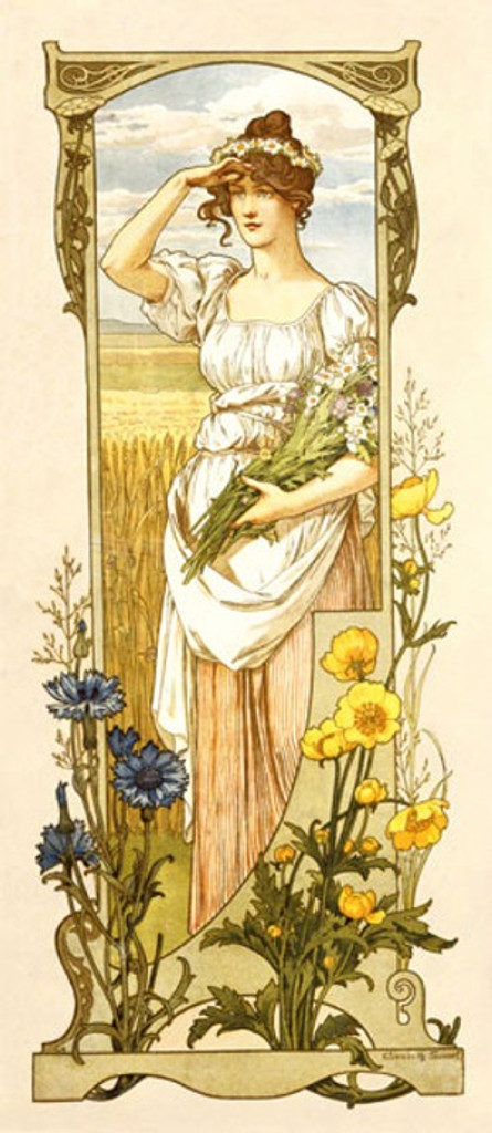 Fleurs des Champs poster by Sonrel 1900 France - Beautiful Vintage Poster Reproductions.French theater exhibition poster features a woman in a field holding a bouquet of flowers and shading her eyes from the sun. Giclee Advertising Print. Classic Posters