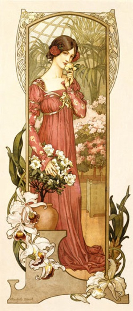 Fleurs des Serre poster by Elizabeth Sonrel France - Beautiful Vintage Poster Reproductions. French theater and exhibition poster features a woman in a greenhouse conservatory smelling flowers picked off a bush. Giclee Advertising Print. Classic Posters