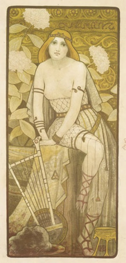 Courtesan by Berthon 1900 France - Beautiful Vintage Poster Reproductions. This vertical French theater and exhibition poster features a topless woman with flowers around her and a harp at her feet. Giclee Advertising Print. Classic Posters