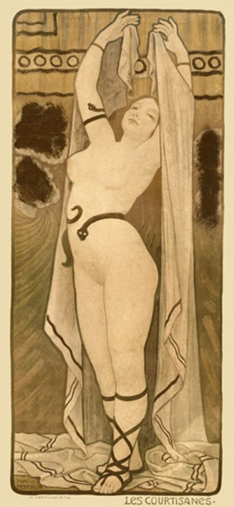 Courtesan by Berthon 1900 France - Vintage Poster Reproductions. This vertical French theater and exhibition poster features a nude woman holding a long fabric up behind her with a snake around her waist and arm. Giclee Advertising Print. Classic Posters