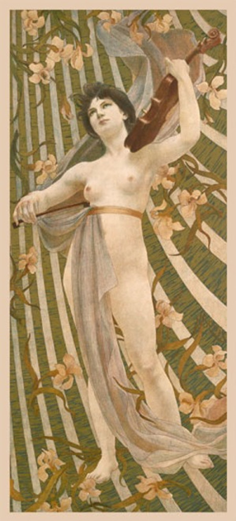 Woman with Violinby Berthon 1900 France - Beautiful Vintage Poster Reproductions. This vertical French theater and exhibition poster features a nude woman playing the viola with flowers and green stripes behind her. Giclee Advertising Print Classic Poster