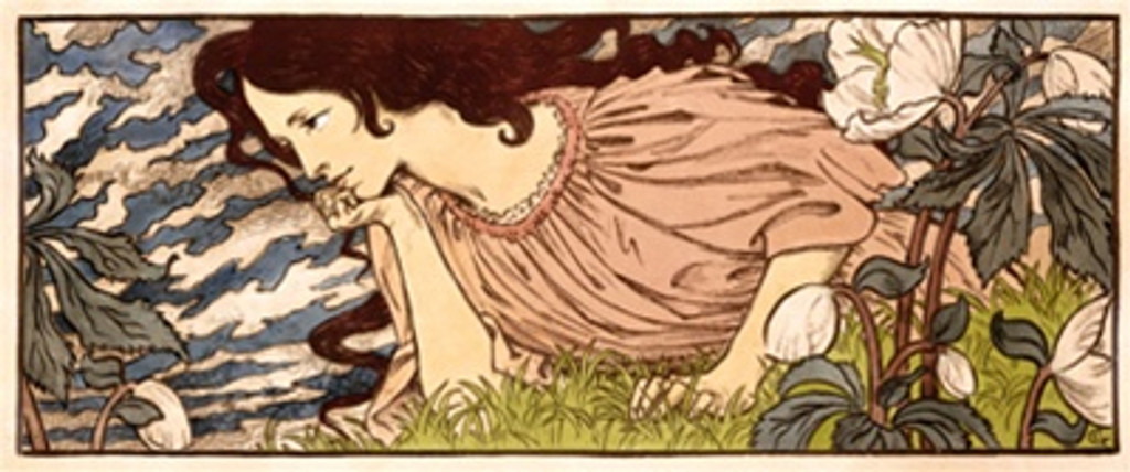 Grasset poster print - Beautiful Vintage Posters Reproductions. This horizontal French theater and exhibition poster features a woman laying in the grass against a cloudy sky and flowers around her. Giclee Advertising Print. Classic Posters