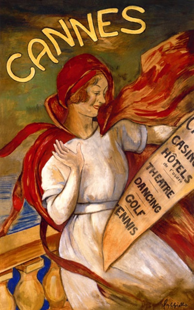 Cannes by Cappiello 1905 French- Beautiful Vintage Posters Reproductions. This vertical French poster features a women in a white dress and red cape reading a poster about travel on a balcony by the sea (ocean). Giclee advertising print. Classic Posters