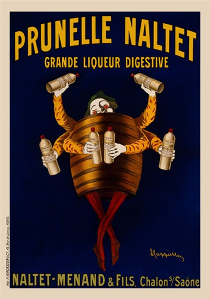 Prunelle Naltet Liqueur by Cappiello 1904 France - Beautiful Vintage Poster Reproduction. This vertical French wine and spirits poster features a man in a barrel with six arms, each hand holding a bottle of digestive prune wine. Giclee advertising print