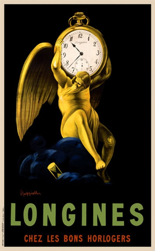Longines by Cappiello Poster France - Beautiful Vintage Poster Reproduction. This vertical French poster advertising clock maker shows a yellow man (father time) with wings holding a pocket watch on his shoulders. Giclee advertising print. Classic Posters