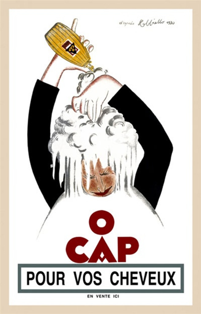 O CAP by Cappiello 1930 France - Beautiful Vintage Poster Reproduction. This vertical French poster advertising shampoo shows a person lathering up their head with soap. The posters are mostly white with black sleeves. Giclee advertising print. Classic