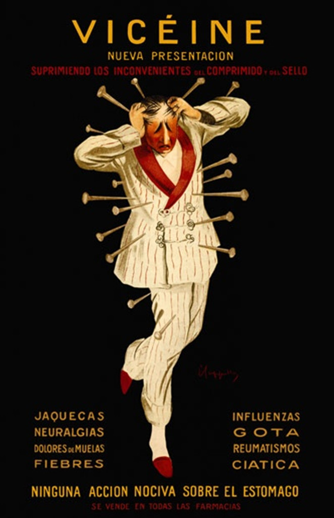 Viceine by Cappiello 1912 France - Beautiful Vintage Poster Reproduction. This vertical French poster features a worried looking man in a white suit with red trim who has pins stuck all around him on a black background. Giclee advertising print. Classic