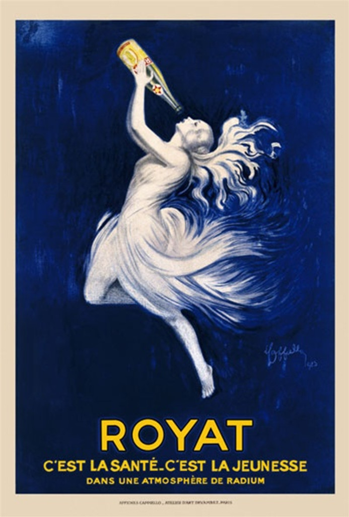 Royat Water by Cappiello 1923 France - Beautiful Vintage PostersReproductions. This vertical French poster advertising water features a white nymph (woman) drinking a bottle of water on a dark blue background. Giclee advertising print. Classic Posters