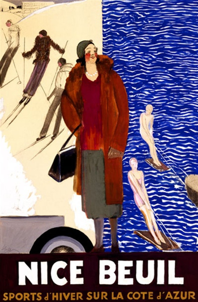 Nice Beuil by Cappiello 1928 France - Beautiful Vintage Posters Reproductions. This vertical French poster shows a well dressed woman in front of a scene of half snow skiing and half water skiers. Giclee advertising print. Classic Posters