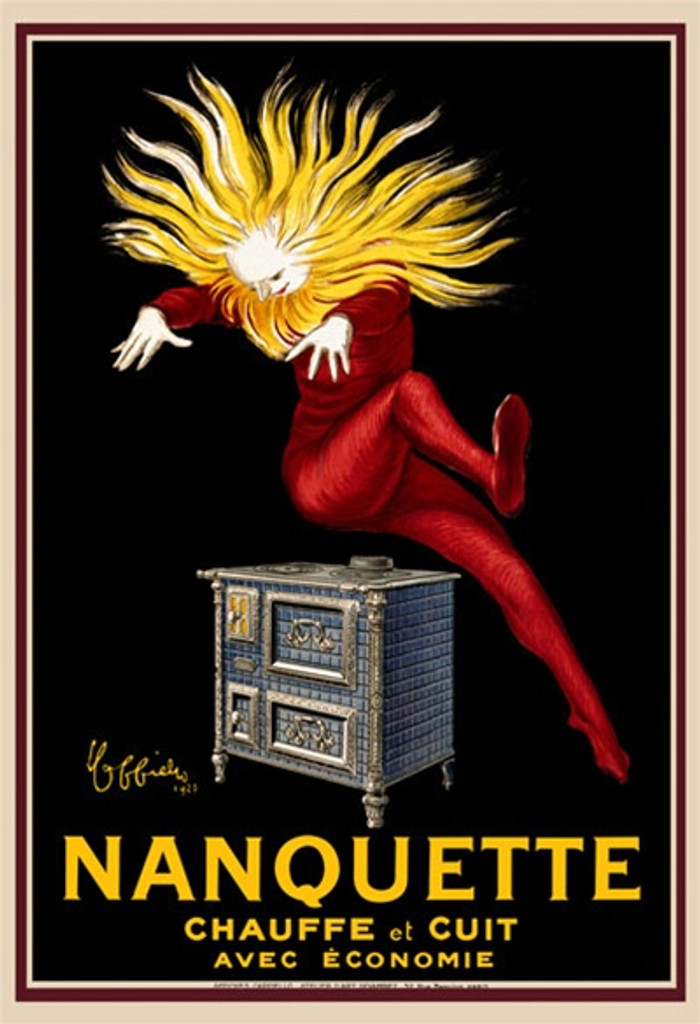 Chauffe Nanquette by Cappiello 1925 France - Beautiful Vintage Posters Reproductions Cappiellos. This vertical French poster features a man in a red suit with a sun like head. He is jumping up off a hot stove. Giclee advertising print. Classic Posters