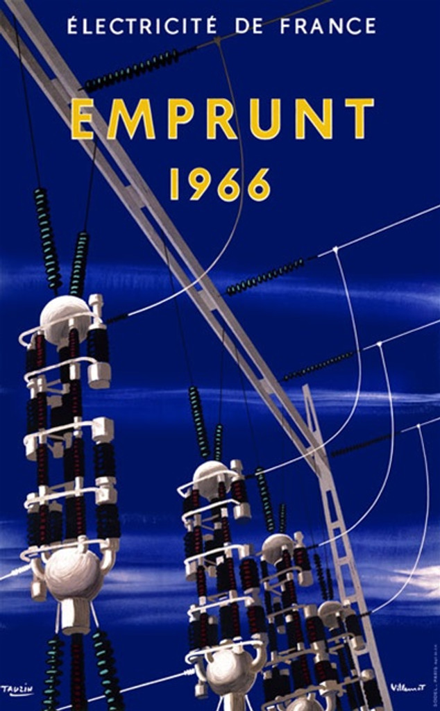Emprunt by Bernard Villemont 1966 French - Beautiful Vintage Poster Reproductions. This vertical French theater and exhibition poster features a power plant with transmission towers and wires against a blue sky. Giclee Advertising Print. Classic Posters