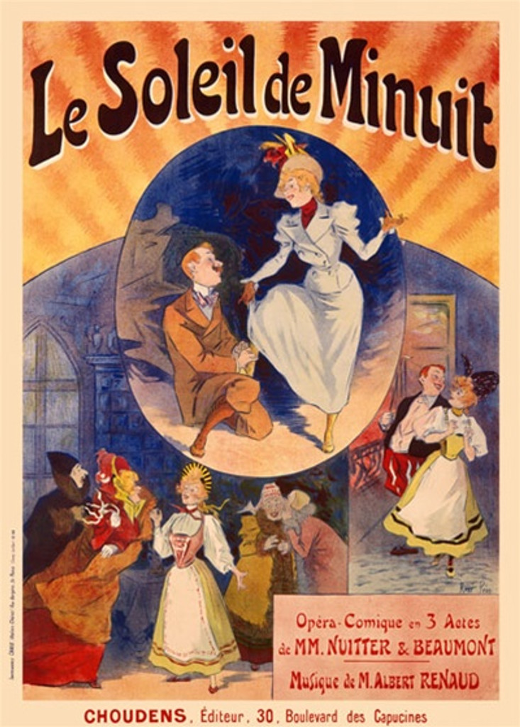 Le Soleil de Minuit vintage poster by Pean - Beautiful Vintage Posters Reproductions. This vertical French theater poster features 3 scenes, a man tying a woman's shoe, a couple walking and a woman in a crowded street. Giclee Advertising Prints