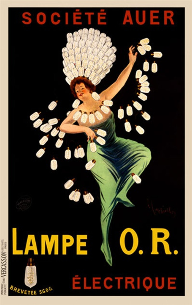 Lampe O.R. by Cappiello France -Beautiful Vintage Posters Reproductions. This vertical French poster features a woman draped in garland and headdress of light bulbs. She is in a green dress on a black background. Giclee advertising print. Classic