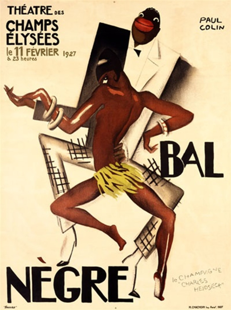 Bal Negre by Paul Colin 1927 France - Vintage Poster Reproductions. This vertical French theater and exhibition poster features a black couple dancing, the man is wearing a tuxedo and the woman only a grass skirt. Giclee Advertising Print. Classic Posters