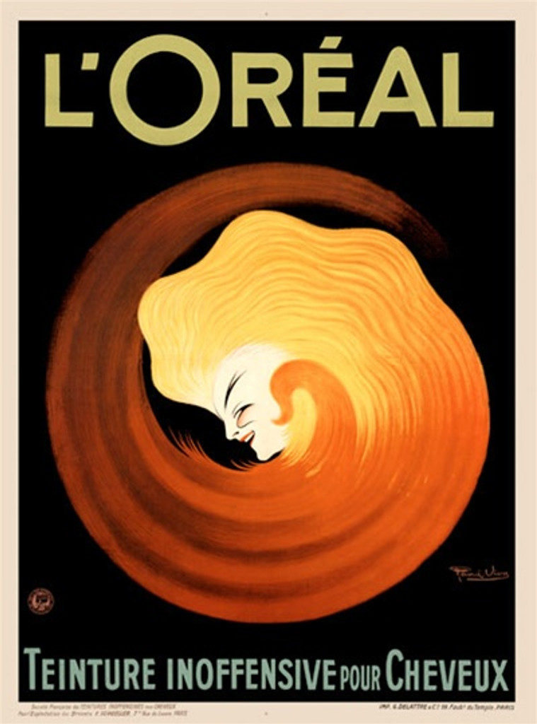 L'Oreal Teinture Cheveux poster by Raoul Vion. Beautiful Vintage Poster Reproduction. This vertical French product poster features a face at the center of a swirling yellow orange circle on a black background. Cheveux. Giclee Advertising Print. Classic Posters