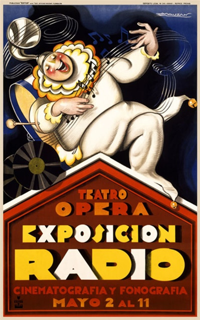 Exposicion Radio by Mauzan 1930 South America - Vintage Poster Reproductions. This South American exhibition poster features a musician/clown in white playing air guitar with music & instruments around him. Giclee Advertising Print. Classic Posters