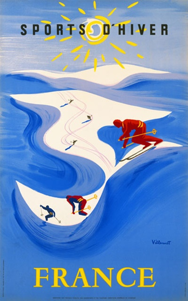 Sports D Hiver by Villemot 1948 France - Beautiful Vintage Poster Reproductions. This vertical French travel poster features skiers in red on white mountains in a sea of blue with beaming sun above them. Giclee Advertising Print. Classic Posters