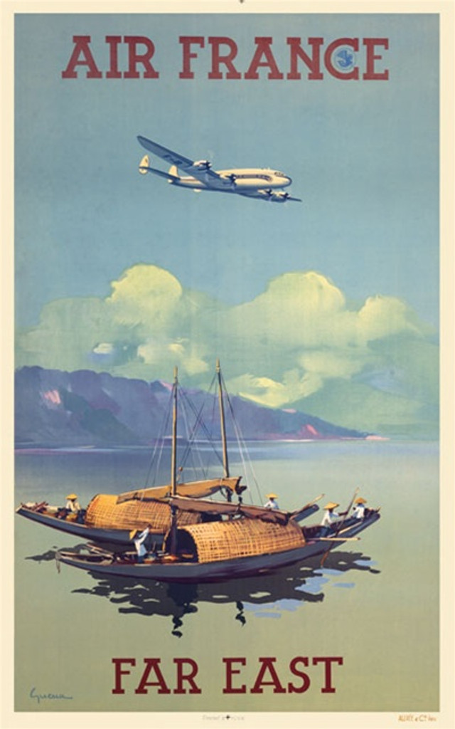Air France Far East by Guerre 1948 France - Vintage Poster Reproductions. This French travel poster features two local fishing boats with fishermen at sea near the mountain shore with a plane flying overhead. Giclee Advertising Print. Classic Posters