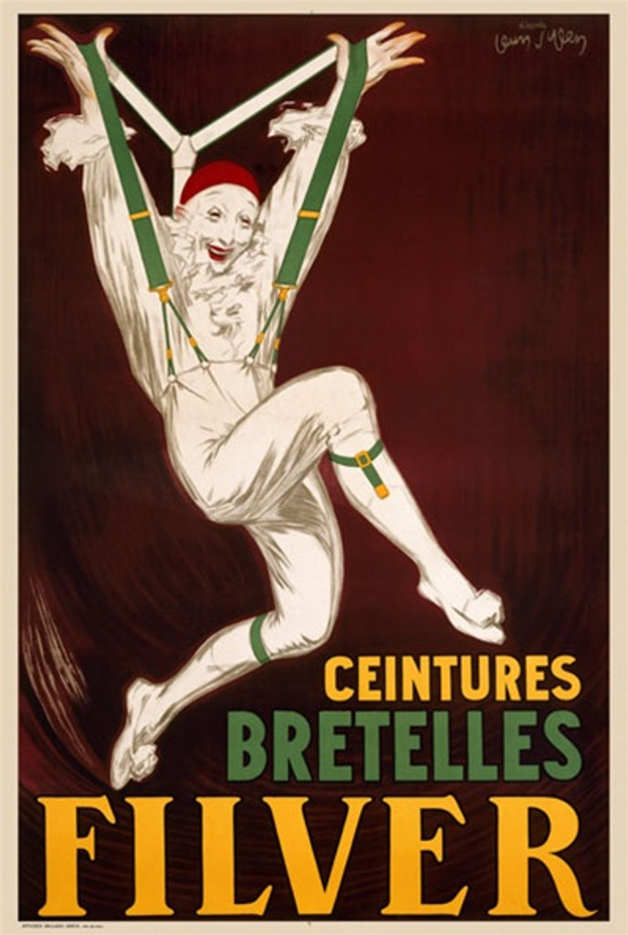 Filver by Dylen 1930 France - Beautiful Vintage Poster Reproductions. French product poster features a clown in white with green suspenders leaping as he stretches his straps over his head. Giclee Advertising Print. Classic Posters