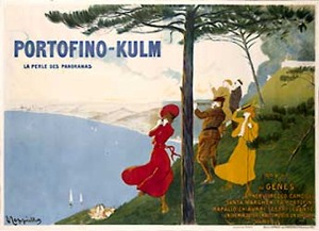 Portofino Kulm by Cappiello 1906 France - Beautiful Vintage Poster Reproduction. This horizontal French poster features a group of men and women who have just gotten out of their car to admire the view of the water (ocean). Giclee advertising print