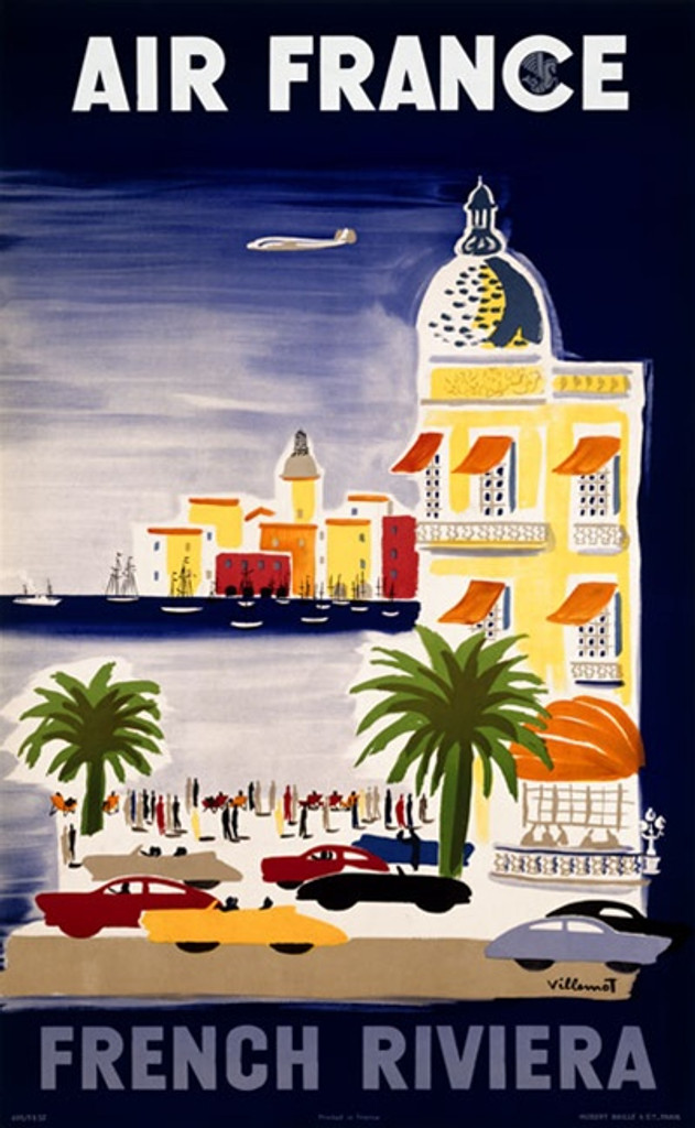 Air France French Riviera poster by Villemot - Vintage Poster Reproductions. This French travel poster features a seaside village with cars and people gathered at the waters edge as a plane flies overhead. Giclee Advertising Print. Classic Posters