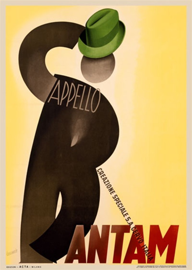 Bantam Hats by Bocasille 1938 Italy - Beautiful Vintage Poster Reproductions. This vertical Italian product poster features a figure of a man made from a C and R with a green hat on a yellow background. Giclee Advertising Print. Classic Posters
