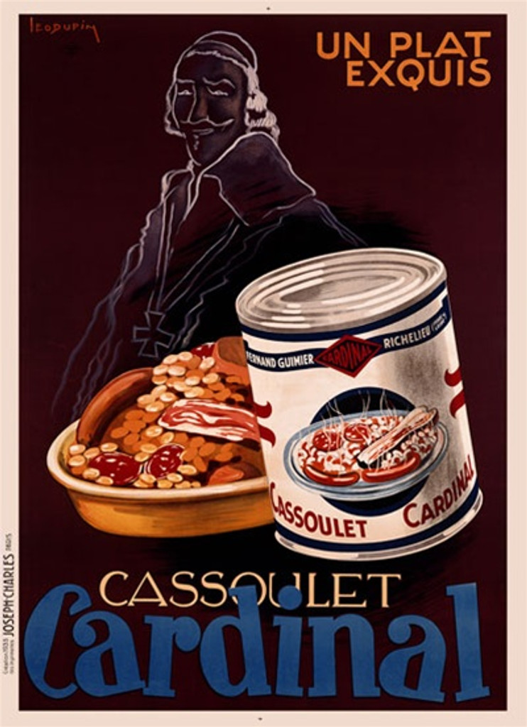 Cassoulet Cardinal by Dupin 1936 France - Beautiful Vintage Poster Reproductions. This vertical French culinary / food poster features the outline of a priest behind a dish of food and a can on brown background. Giclee Advertising Print. Classic Posters