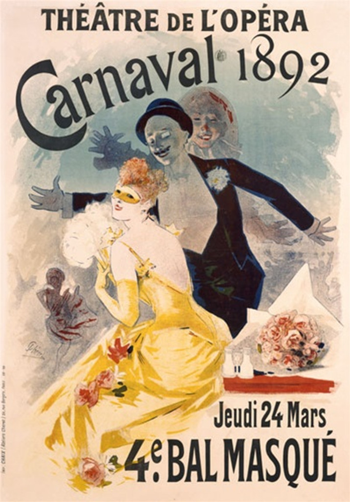 Carnaval by Cheret 1892 France - Beautiful Vintage Poster Reproductions. This vertical French theater and exhibition poster features a masked woman in yellow with a man and woman with jazz hands behind her. Giclee Advertising Print. Classic Posters