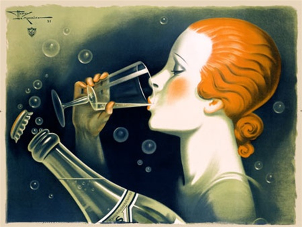 Eau Verdiere by H. Le Monnier 1931 France -Vintage Poster Reproductions. This horizontal French culinary/food poster features a profile of a girl drinking from glass with bottle next to her and bubbles all around. Giclee Advertising Print. Classic Posters