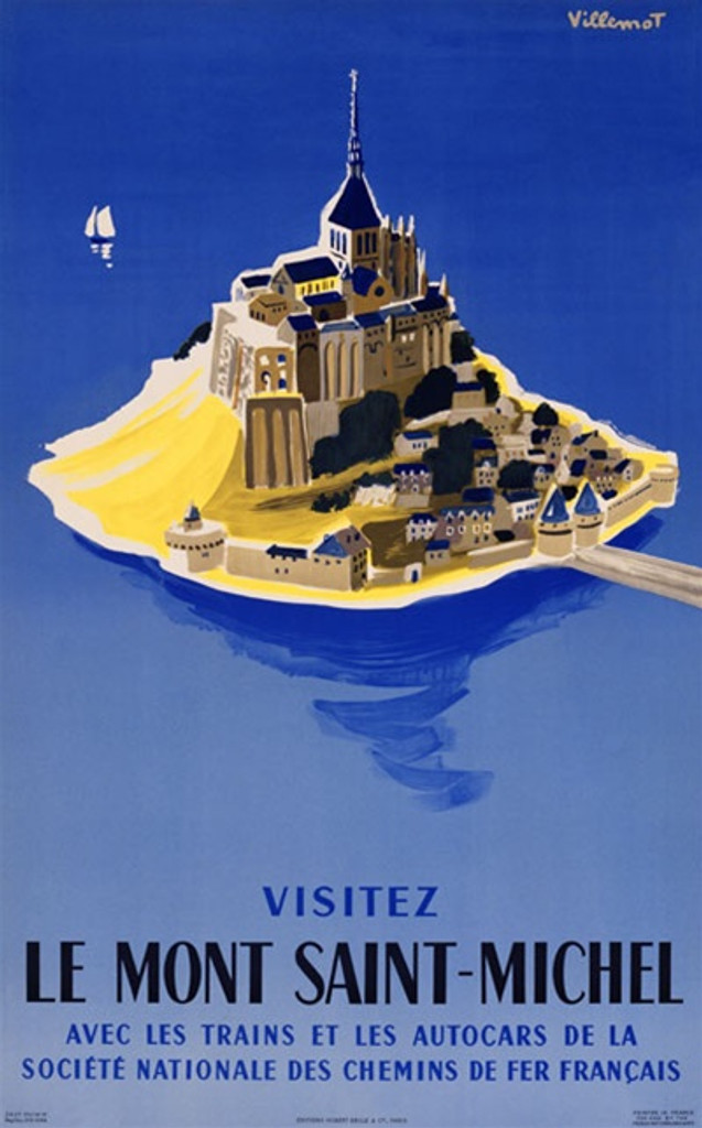 Le Mont Saint Michel by Bernard Villemot 1954 France - Beautiful Vintage Poster Reproductions. This vertical French travel poster features an island village with a castle in the center, a bridge and a sailboat. Giclee Advertising Print. Classic Posters