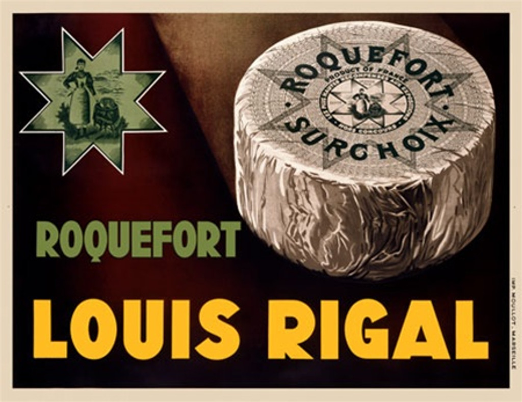 Louis Rigal 1938 France - Beautiful Vintage Poster Reproductions. This horizontal French culinary / food poster features a wheel of cheese wrapped in paper next to a star with an illustration of a woman. Giclee Advertising Print. Classic Posters