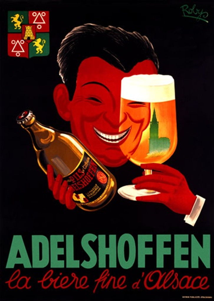 Adelshoffen by Roby 1952 France - Beautiful Vintage Poster Reproductions. This wine and spirits poster features floating head and hands holding up a bottle and looking through a glass of beer on black background. Giclee Advertising Print. Classic Posters