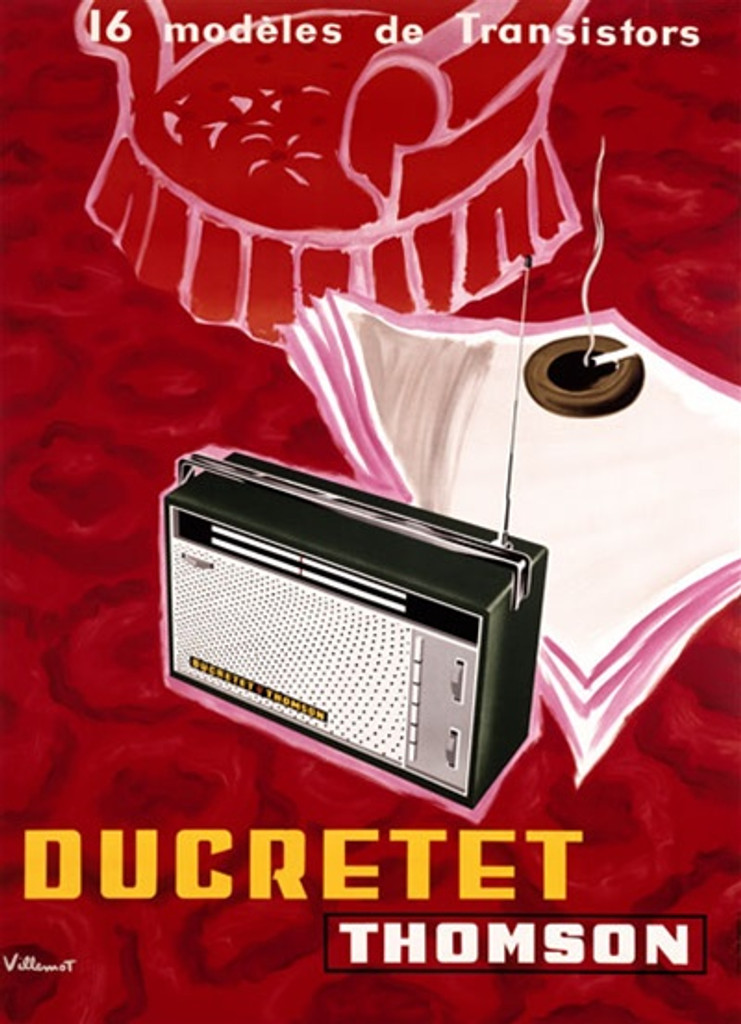 Ducretet Thomson by Villemot 1956 France - Beautiful Vintage Poster Reproductions. This vertical French product poster features a radio on a red carpet with an ashtray on paper and a red chair behind it. Giclee Advertising Print. Classic Posters