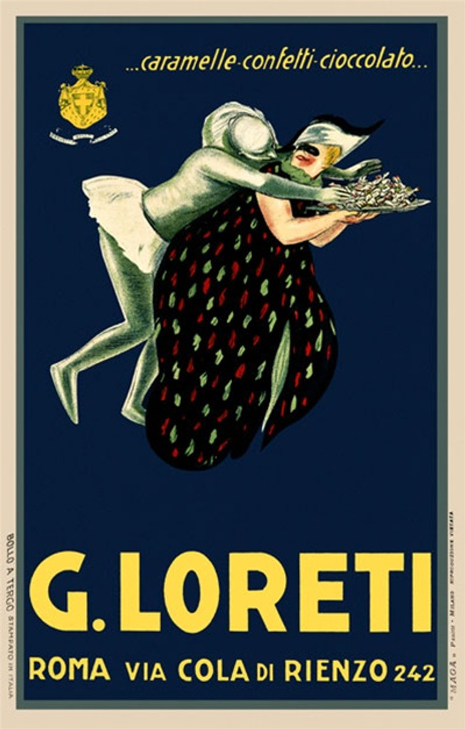 G. Loreti by Mauzan 1926 France - Beautiful Vintage Poster Reproductions. This vertical French culinary / food poster features a man stealing candy from a womans tray on a blue background. Giclee Advertising Print. Classic Posters