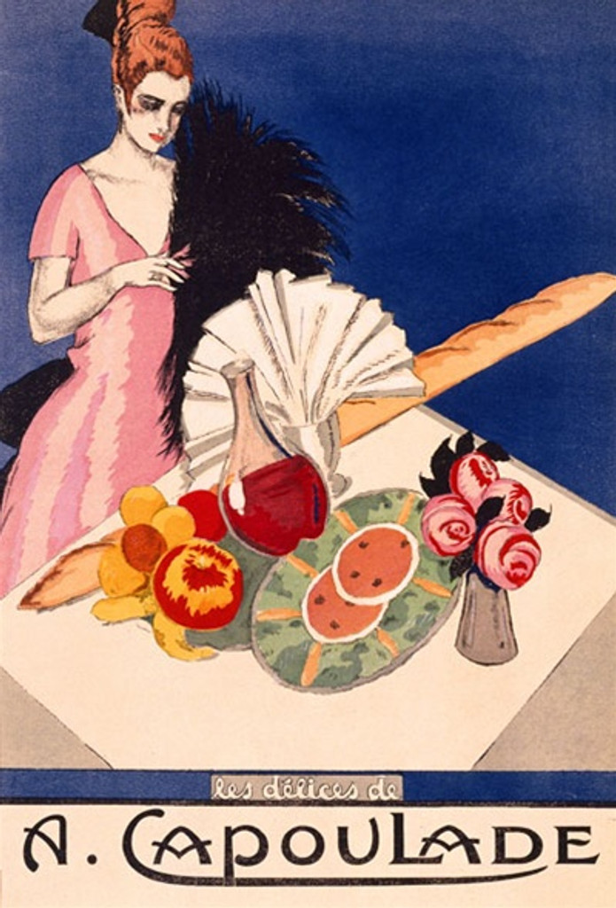 A. Capoulade 1925 France - Beautiful Vintage Poster Reproductions. This vertical French culinary / food poster features a woman in pink dress at a table with wine, bread, fruit, flowers on blue background. Giclee Advertising Print. Classic Posters