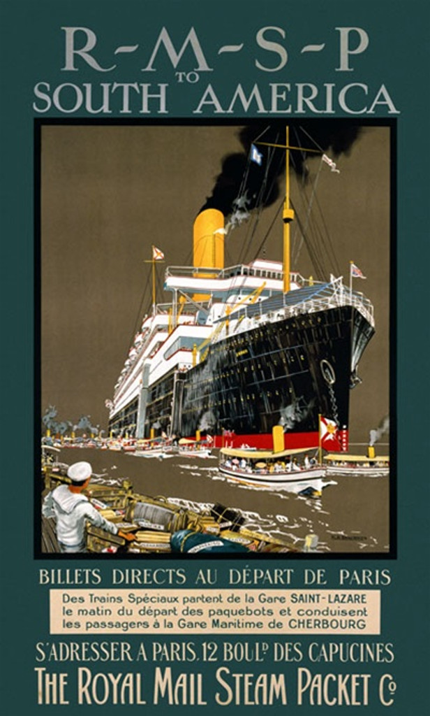 RMSP to South America 1910 England - Vintage Poster Reproductions. This English travel poster features a cruise ship in a canal with numerous small steam boats as a navy man looks on from the deck of a boat. Giclee Advertising Print. Classic Posters