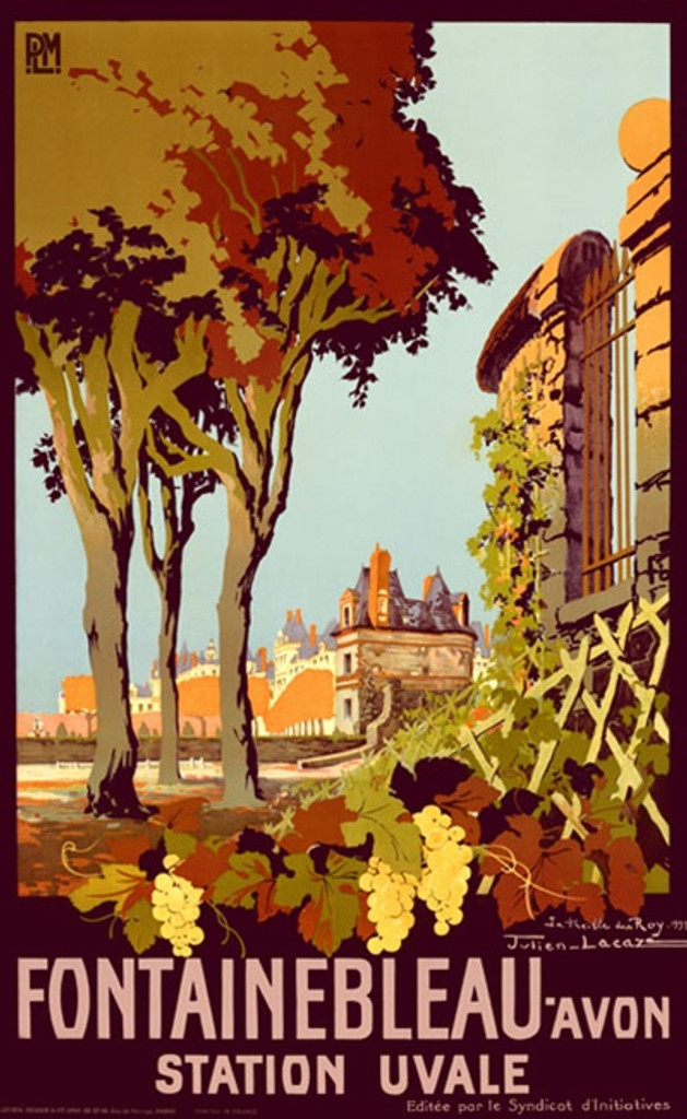 Fontainebleau Avon Station Uvale by Lacaza 1926 France - Beautiful Vintage Poster Reproductions. This vertical French travel poster features a fence with grapevines, trees, and a village in the distance. Giclee Advertising Print. Classic Posters