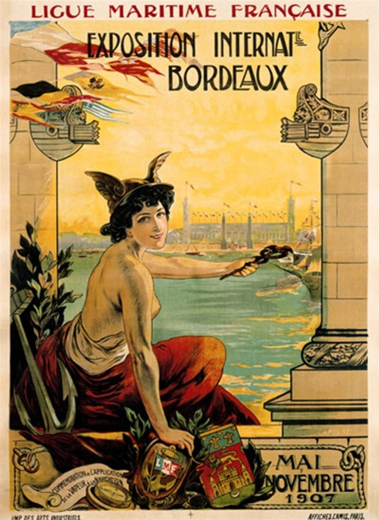Exposition Internat Bordeaux 1908 France - Beautiful Vintage Poster Reproductions. This vertical French theater and exhibition poster features a topless woman with winged hat sitting pointing out over the water. Giclee Advertising Print. Classic Posters
