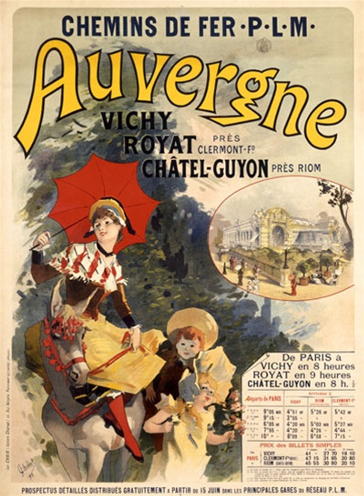 Auvergne by Jules Cheret 1896 France - Vintage Poster Reproductions. This vertical French travel poster features a woman riding side saddle on a horse with a parasol and two children, a boy and girl next to her. Giclee Advertising Print. Classic Posters