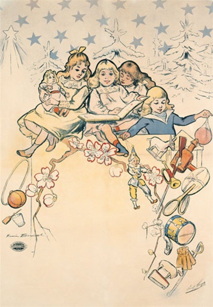 Toys by Boussiet 1900 France - Vintage Poster Reproductions. This French product poster features a group of girls playing with their toys, dolls, instruments and reading a book with trees and star behind them. Giclee Advertising Print. Classic Posters