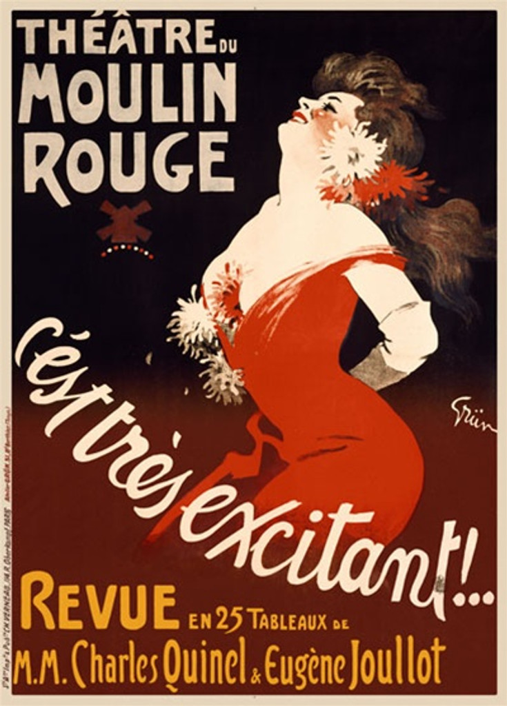 Moulin Rouge by Grun 1896 France - Beautiful Vintage Poster Reproductions. This vertical French theater and exhibition poster features a woman in a red dress arching her back against a black and rust background. Giclee Advertising Print. Classic Posters