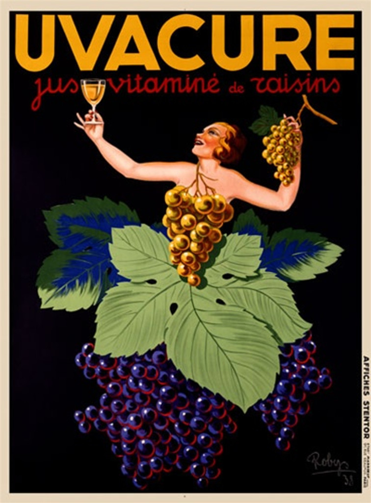 Uvacure by Roby 1930 France - Vintage Poster Reproductions. This vertical French wine and spirits poster features a women dressed in grapes and grape leaves holding up a glass of wine against black background. Giclee Advertising Print. Classic Posters