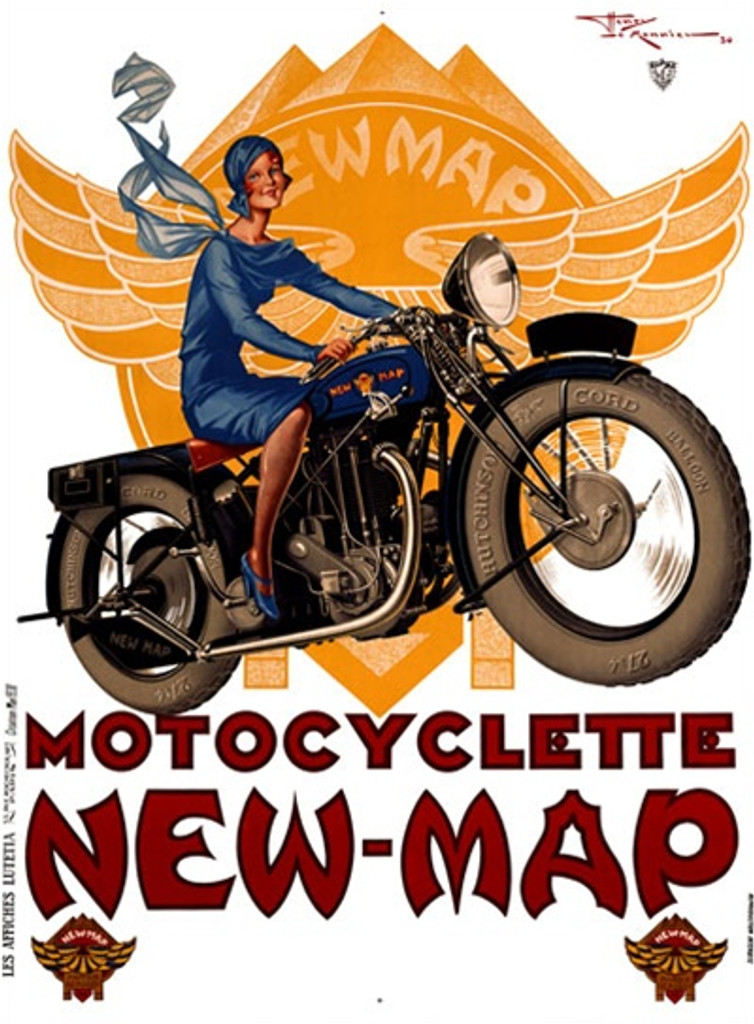 Motocyclette New Map 1926 France - Vintage Poster Reproductions. This vertical French transportation poster features a woman dressed in blue with a flowing scarf riding a motorcycle with a yellow logo behind her. Giclee Advertising Print. Classic Posters