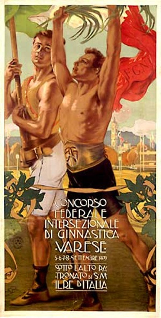 Concorso Federale Olympic 1900 Italy - Beautiful Vintage Poster Reproductions. This vertical Italian theater and exhibition poster features 2 shirtless men holding flags and a palm branch. Giclee Advertising Print. Classic Posters