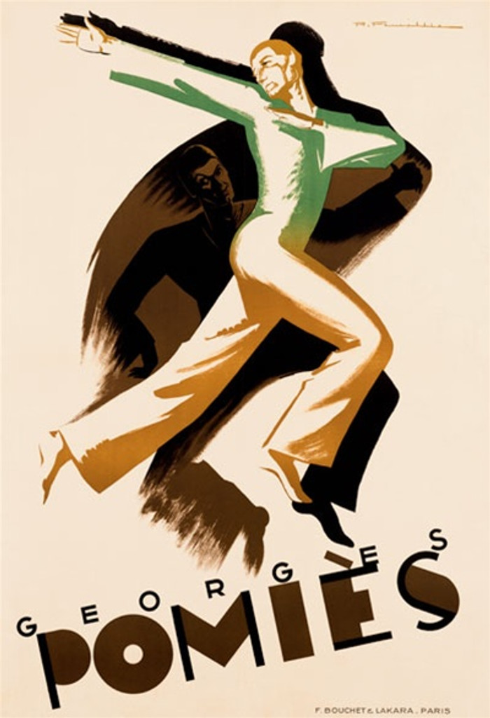 Georges Pomies 1928 France - Vintage Poster Reproductions. This vertical French theater and exhibition poster features a man in a dramatic dance pose with arms thrown back and another dancer in his shadow. Giclee Advertising Print. Classic Posters