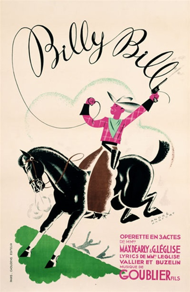 Billy Bill 1928 France - Beautiful Vintage Poster Reproductions. This vertical French theater and exhibition poster features a cowboy on a black horse shooting a gun in the air and his lasso spelling his name. Giclee Advertising Print. Classic Posters