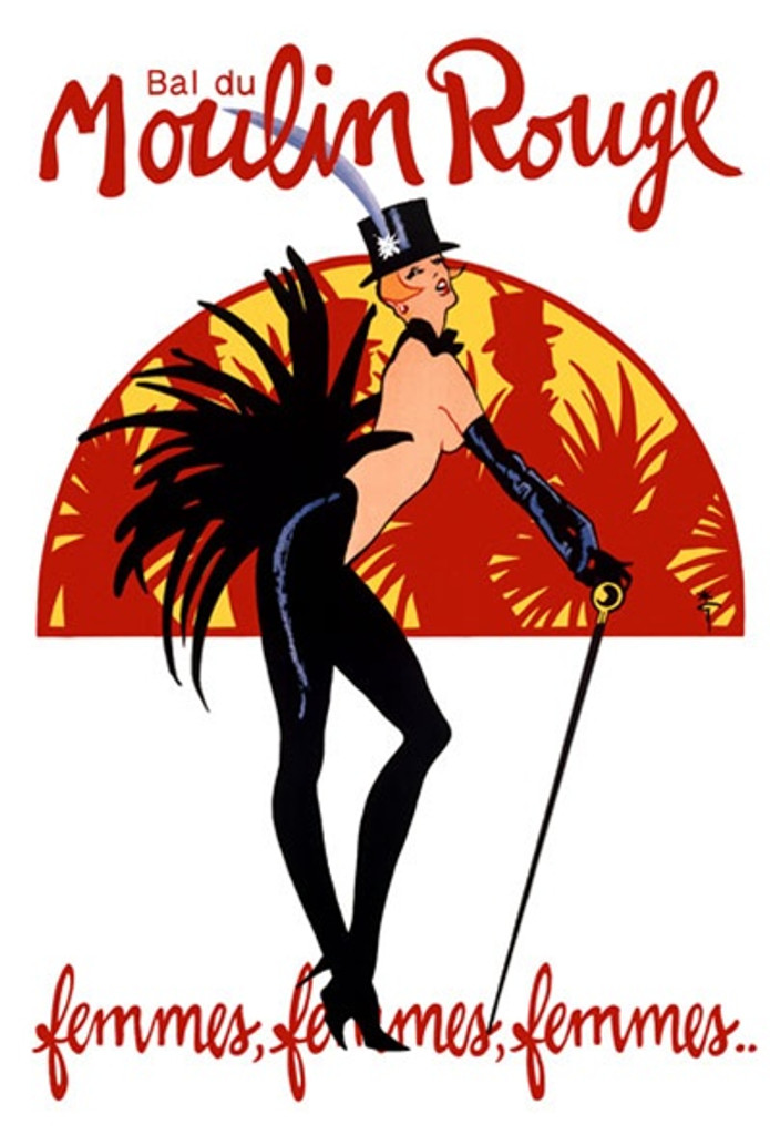 Bal du Moulin Rouge by Gruau 1968 France - Beautiful Vintage Poster Reproductions. French theater and exhibition poster features a topless dancer with a top hat, cane and feather tail. Giclee Advertising Print. Classic Posters
