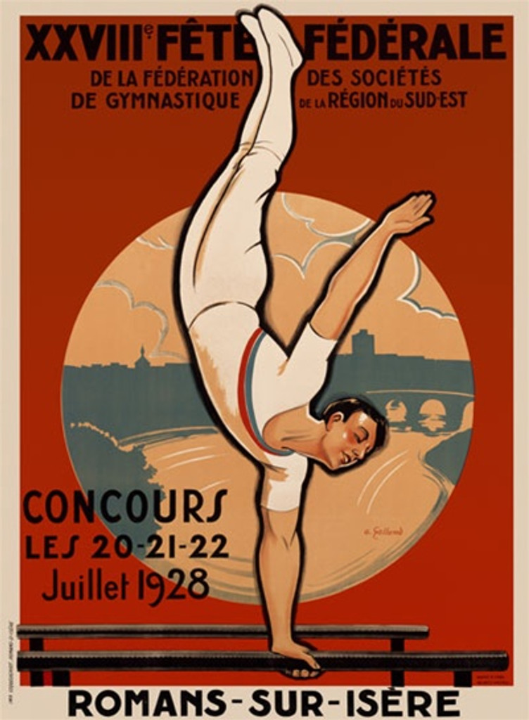 XXVIII Fete Federale by Galland 1928 France - Beautiful Vintage Poster Reproductions. This vertical French theater and exhibition poster features a gymnast on the parallel bars doing a one handed hand stand. Giclee Advertising Print. Classic Posters